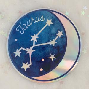 TAURUS - Zodiac Sticker - Star Sign Constellation - Moon & Star - Sky - Astrology - Astronomy - Holographic Vinyl - Stickers for Laptop Water Bottle - Wildflower + Co. - Indiv Sticker -  (2)