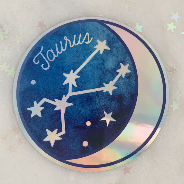 TAURUS - Zodiac Sticker - Star Sign Constellation - Moon & Star - Sky - Astrology - Astronomy - Holographic Vinyl - Stickers for Laptop Water Bottle - Wildflower + Co. - Indiv Sticker -  (2)
