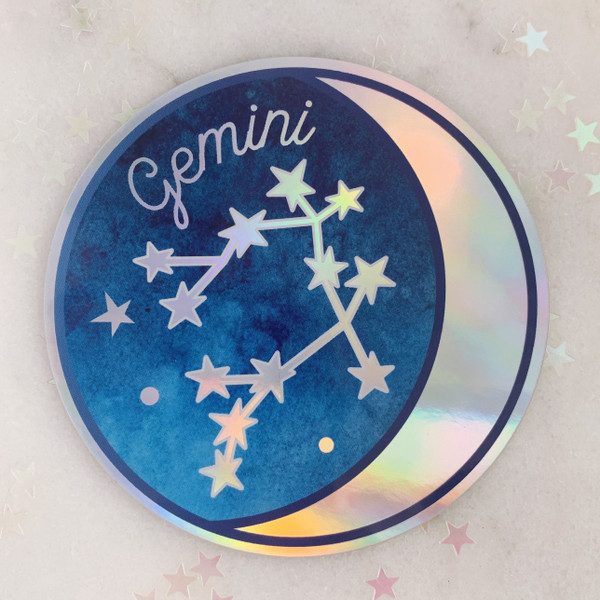 GEMINI - Zodiac Sticker - Star Sign Constellation - Moon & Star - Sky - Astrology - Astronomy - Holographic Vinyl - Stickers for Laptop Water Bottle - Wildflower + Co. - Indiv Sticker -  (2)