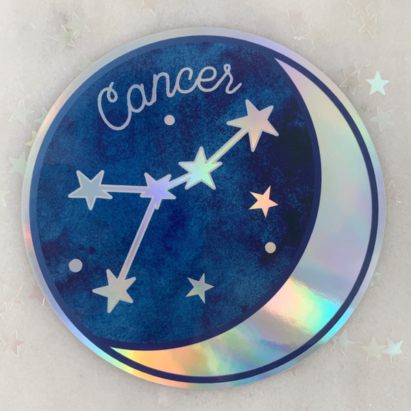 CANCER - Zodiac Sticker - Star Sign Constellation - Moon & Star - Sky - Astrology - Astronomy - Holographic Vinyl - Stickers for Laptop Water Bottle - Wildflower + Co. - Indiv Sticker -  (2)