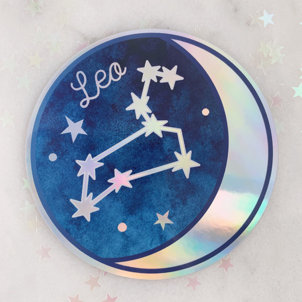 LEO - Zodiac Sticker - Star Sign Constellation - Moon & Star - Sky - Astrology - Astronomy - Holographic Vinyl - Stickers for Laptop Water Bottle - Wildflower + Co. - Indiv Sticker -  (9)