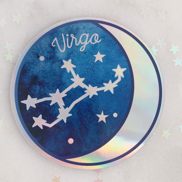 VIRGO - Zodiac Sticker - Star Sign Constellation - Moon & Star - Sky - Astrology - Astronomy - Holographic Vinyl - Stickers for Laptop Water Bottle - Wildflower + Co. - Indiv Sticker -  (12)