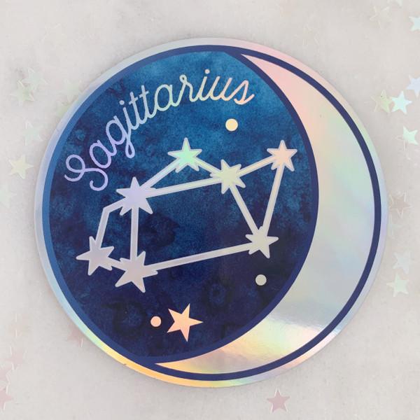 SAGITTARIUS - Zodiac Sticker - Star Sign Constellation - Moon & Star - Sky - Astrology - Astronomy - Holographic Vinyl - Stickers for Laptop Water Bottle - Wildflower + Co. - Indiv Sticker -  (10)