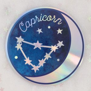 CAPRICORN - Zodiac Sticker - Star Sign Constellation - Moon & Star - Sky - Astrology - Astronomy - Holographic Vinyl - Stickers for Laptop Water Bottle - Wildflower + Co. - Indiv Sticker -  (11)