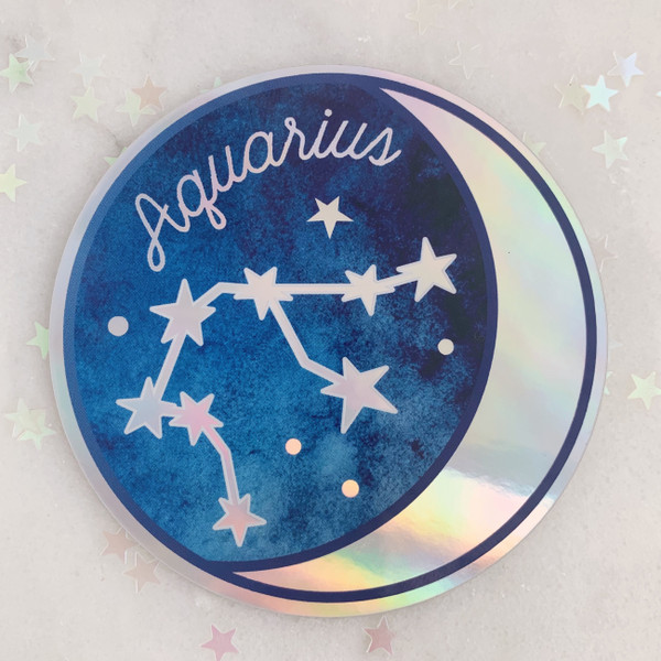 AQUARIUS - Zodiac Sticker - Star Sign Constellation - Moon & Star - Sky - Astrology - Astronomy - Holographic Vinyl - Stickers for Laptop Water Bottle - Wildflower + Co. - Indiv Sticker -  (1)
