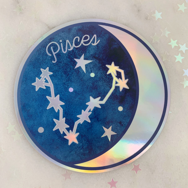 PISCES - Zodiac Sticker - Star Sign Constellation - Moon & Star - Sky - Astrology - Astronomy - Holographic Vinyl - Stickers for Laptop Water Bottle - Wildflower + Co. - Indiv Sticker -  (7)