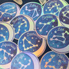 Zodiac Sticker - Star Sign Constellation - Moon & Star - Sky - Astrology - Astronomy - Holographic Vinyl - Stickers for Laptop Water Bottle - Wildflower + Co. - Indiv Sticker -  Aries Aquarius Cancer Capricorn Leo Libra Gemini Pisces Sagittarius Scorpio Pisces Taurus Virgo