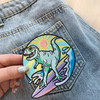 Dinosaur Patch - T-Rex T Rex Patches - Surf Surfing Beach Ocean Wave Waves Sun Sunshine - Pastel - Embroider Embroidered Applique Badge - Wildflower + Co. DIY - Jean Jacket