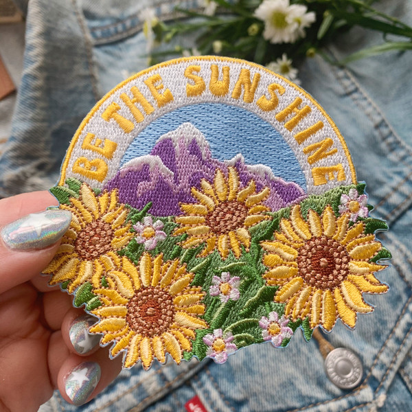 Be the Sunshine Sunflower Patch Patches Iron On Embroidered Applique VSCO Mountain Outdoors Camping Positivity Quote - Wildflower + Co. DIY (1)