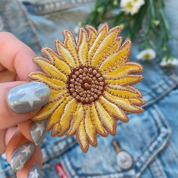 Sunflower Patch - Iron On Patches Embroidered - Yellow Flower - Boho VSCO - Wildflower + Co. DIY (2)
