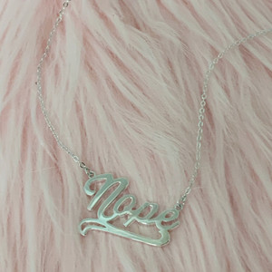Nameplate Necklace - Nope - Sterling Silver