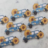 Jeep & Sunflower Patch - Iron On Patches - Embroidered - Sky Blue Jeep - Yellow Flower Daisy - Wildflower + Co (2)
