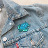Sea Turtle Patch - Iron On Patches - Embroidered - Blue Green - Wildflower + Co (1)
