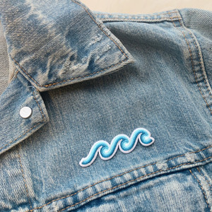 Wave Patch - Iron On Patches - Embroidered - Blue Turquoise - Make Waves - Ocean Sea Water Beach Surf Surfer Surfing - Wildflower + Co (4)