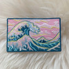 Great Wave Patch - Iron On Patches - Blue Turquoise Pink Skies - Ocean Sea Surf Surfer Waves - Wildflower + Co (2)
