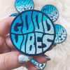 Good Vibes Patch - Quote Iron On Patches - Embroidered - Turquoise Blue Ocean Waves Beach Surf Surfer Surfing - 70s Vintage - Wildflower + Co. DIY (1)