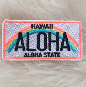 Hawaii Aloha License Plate Patch - Embroidered Iron On Patches - Beach Ocean Travel Rainbow Quote - Wildflower + Co (5)
