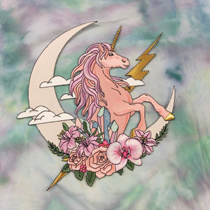 Unicorn Fantasy Back Patch - Patches for Jackets - Embroidered Iron On - Moon - Crystal - Flowers - Pink Pastel 4