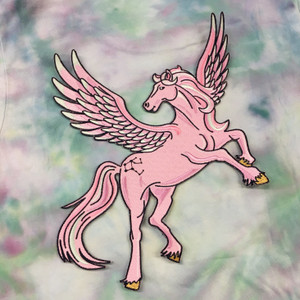 Pegasus Back Patch - Patches for Jackets - Embroidered Iron On - Pink Lilac Pastel 2
