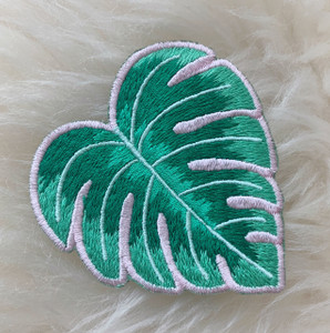 Monstera Leaf Plant Patch - Embroidered Iron On Patches - Green Pink - Plant Lady  Plant Mom - Wildflower + Co. DIY (2)