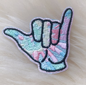 Hang Loose Surfer Hand Patch -Embroidered Iron On Patches - Tie Dye - Pastel - Beach - Ocean Surf Surfer - Wildflower + Co. DIY (2)