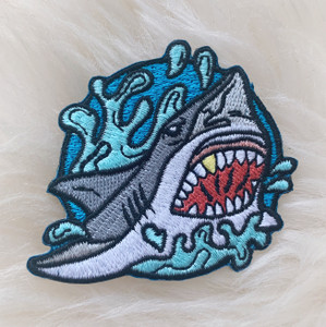 Shark Patch -Embroidered Iron On Patches - Beach - Ocean Wave Surf Surfer - Wildflower + Co. DIY (4)