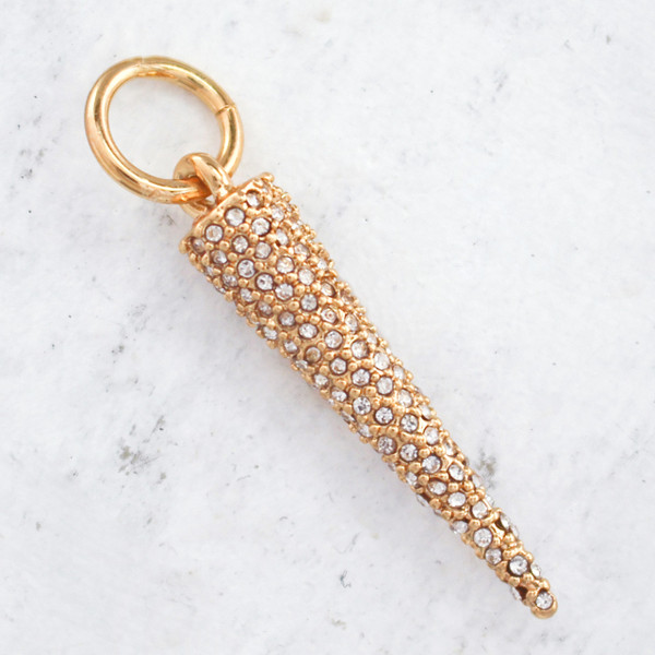 JW00042 Pave Spike - Charm - Pendant - Gold - Wildflower.Co - Main