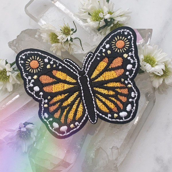 Butterfly Patch -Embroidered Iron On Patches - Monarch Sunflower Nature Outdoors Sun - Wildflower + Co. DIY (6)