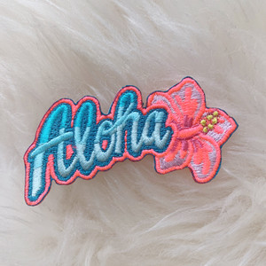 Aloha Patch -Embroidered Iron On Patches - Hawaii Good Vibes Hibiscus Flower Beach Vacation - Wildflower + Co. DIY (6)