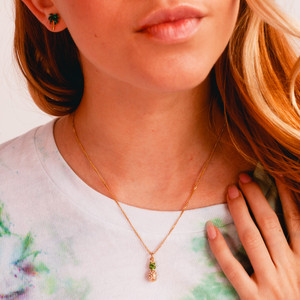 PINEAPPLE CHARM NECKLACE - Delicate Pave Crystal Gold Green Enamel - Beach Resort Summer - On-Model