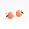 JW00691-GLD-OS - Peach Stud Earrings - Gold Pave Crystal Enamel - Dainty Tiny - Wildflower + Co. Jewelry