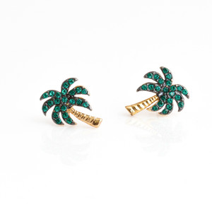 Palm Tree Stud Earrings - Gold - Wildflower + Co. Dainty Tiny