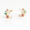 JW00687-GLD-OS - Crescent Moon & Flower Stud Earrings - Gold Pave Crystal Dainty Tiny - Wildflower + Co. Jewelry