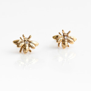 Bee Stud Earrings - Gold Pave Crystal Dainty Tiny - Wildflower + Co. Jewelry