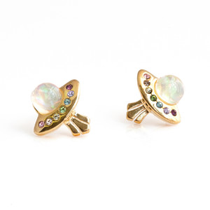 JW00693-GLD-OS - UFO Stud Earrings - Gold Pave Crystal Dainty Tiny Alien Space Galaxy Cosmic Trippy - Wildflower + Co. Jewelry