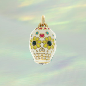 JW00043PGDOS - Sugar Skull Charm, Gold -  Sugar Skull Charm Pendant - Day of the Dead - Wildflower & Co.