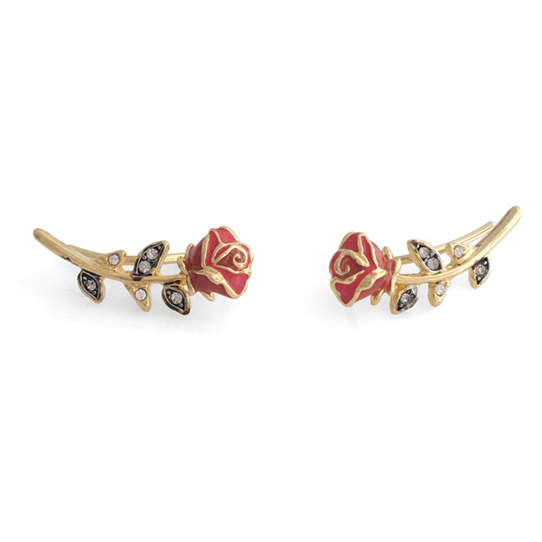 JW00598-GLD-OS-R - Rose Crawler Climber Earrings - Red Gold - Wildflower + Co. Jewelry - Floating