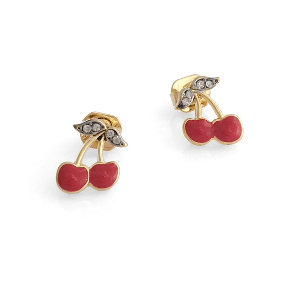 Cherry Stud Earrings - Dainty Tiny Gold Earring - Red Cherry Girl - Cute - Wildflower + Co. Jewelry -