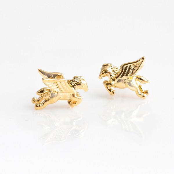 Pegasus Stud Earrings - Studs Earrings - Dainty Tiny Gold - Cute Unicorn - Astrology Cosmic - Wildflower + Co. Jewelry Gifts (1)