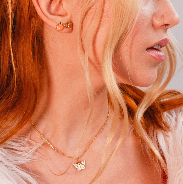 Butterfly Necklace - Dainty Gold - Tiny - Everyday - Nature Celestial Moon Camping - l VSCO - Wildflower + Co. Jewelry -8038 crop