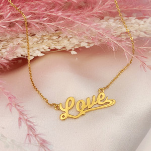 JW00795-GLD-OS Love Necklace Nameplate Sterling Silver & Gold Vermeil - Dainty Everyday Valentine's Day Gift for Girlfriend Wife - Wildflower + Co. Jewelry & Gifts - USE2