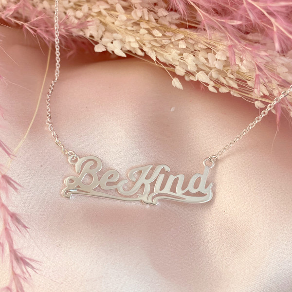JW00796-SLV-OS Be Kind Necklace Nameplate Sterling Silver - Positivity Affirmation - Wildflower + Co. Jewelry Gifts - USE