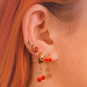Ear Party - Stacked Earrings - Rose Cherry Cherries - Dainty Gold Stud Studs Huggies - Wildflower + Co. Jewelry Gifts