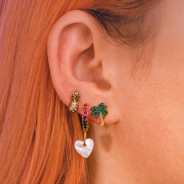Ear Party - Stacked Earrings - Pineapple Palm Tree - Dainty Gold Stud Studs - Wildflower + Co. Jewelry Gifts