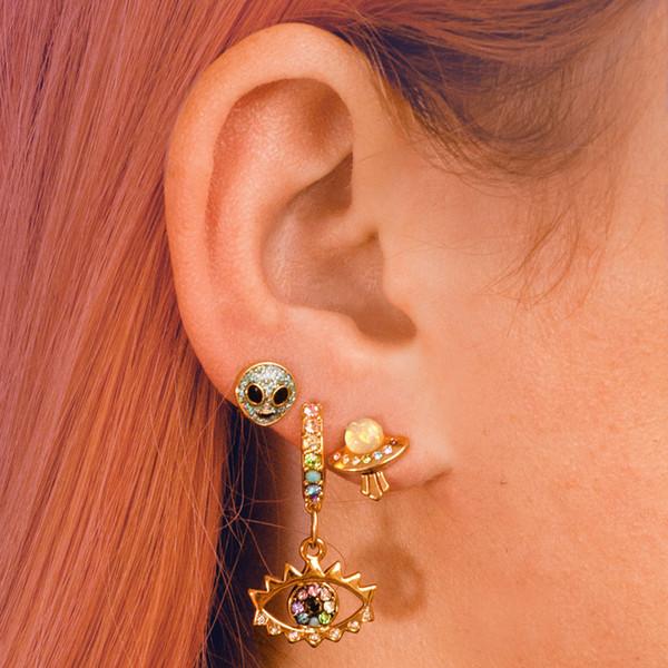 Ear Party - Stacked Earrings - UFO Alien Eye - Dainty Gold Stud Studs - Wildflower + Co. Jewelry Gifts