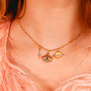3 Charm Choker - Gold Planet Evil Eye Lightning Bolt - Design Your Own Personalized Custom Charm Jewelry - Wildflower + Co. charmingAF2000-5962 crop
