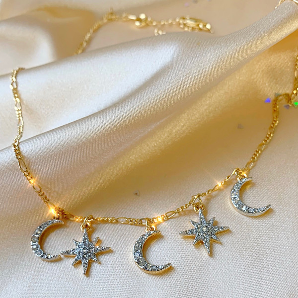 Custom Charm Choker Necklace - Gold - Celestial North Star & Moon - Wildflower + Co.