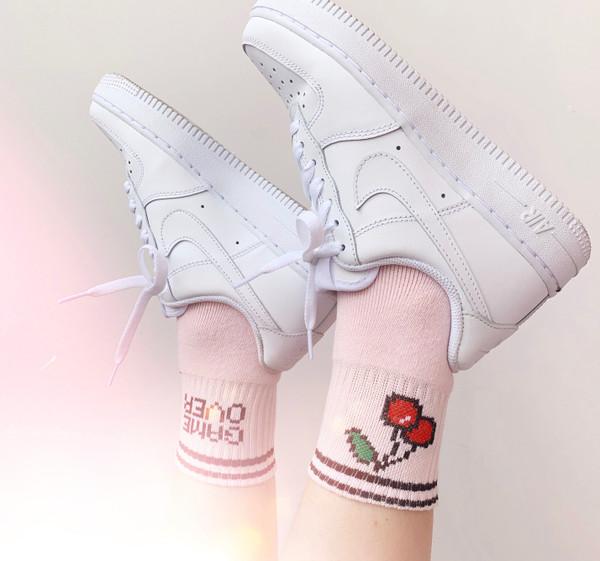 Game Over Cherry Socks Gamer Girl E-Girl Egirl Cherry Girl - Hypebeast - Sport Sneaker - Gift - Stocking Stuffer - Wildflower + Co. - Bottom - Retouched