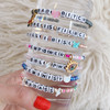 Feminist Grl Pwr Custom Name Bracelet Stack - Alphabet Word Quote Beads - Personalized Jewelry Gift - Wildflower + Co (1)