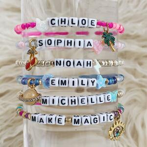 Custom Name Bracelet Stack - Alphabet Word Quote Beads - Personalized Jewelry Gift - Wildflower + Co (1)